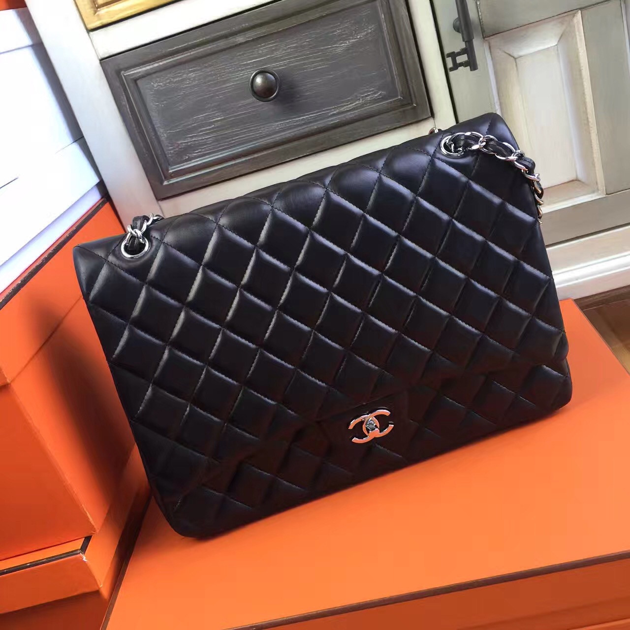 7ba3c99e6974 Chanel Black Quilted Lambskin Maxi Classic Double Flap Bag - Bella ...