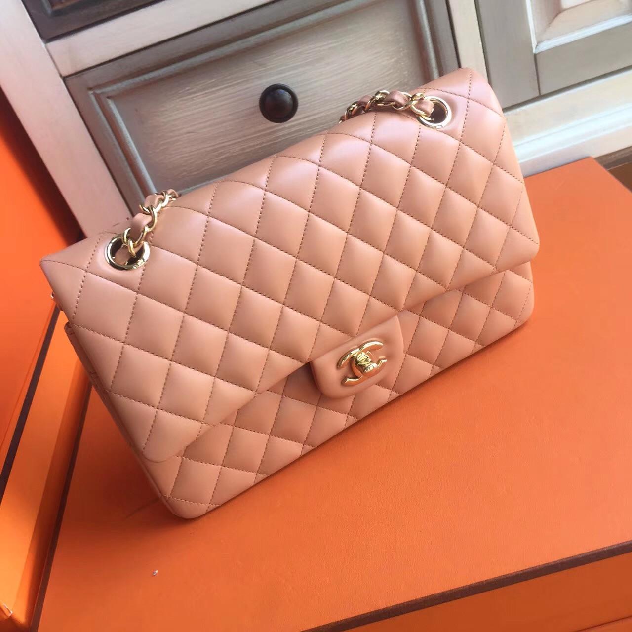 02a8bc41011e Chanel Peach Lambskin Classic Flap Bag - Bella Vita Moda