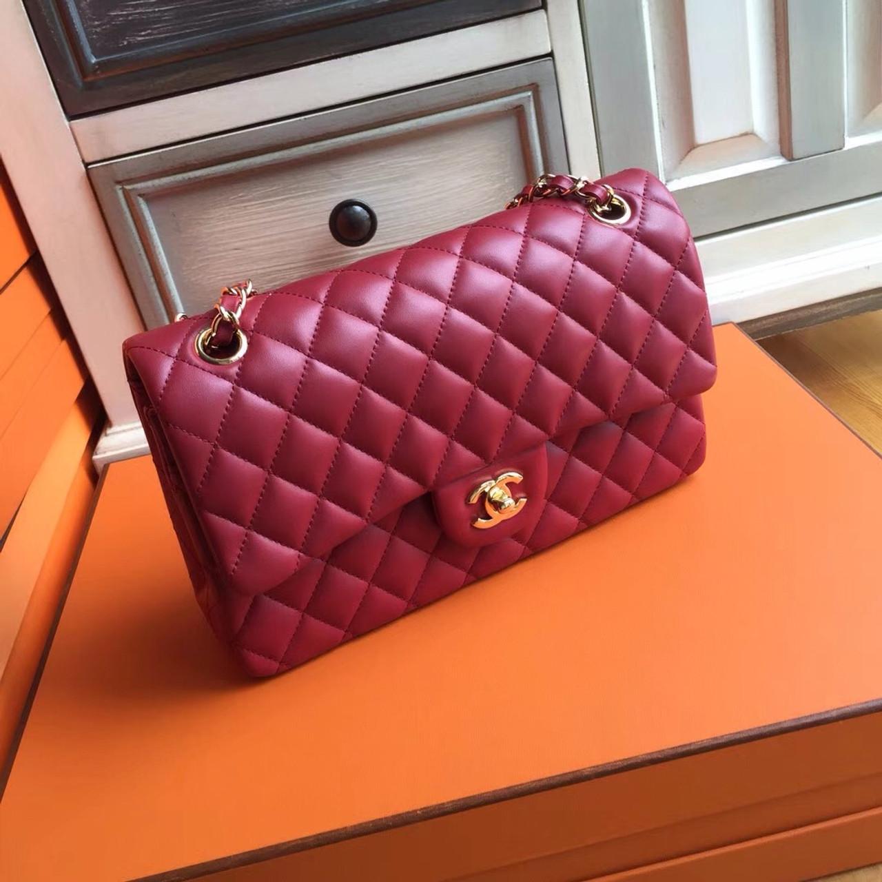 4c886eaec348 Chanel Red Lambskin Classic Flap Bag - Bella Vita Moda