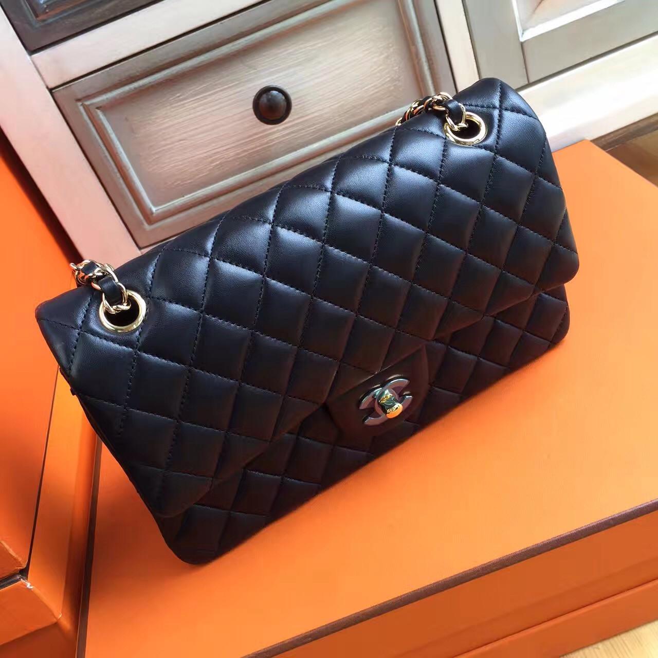 3cc4d63ee871 Chanel Black Lambskin Classic Flap Bag - Bella Vita Moda