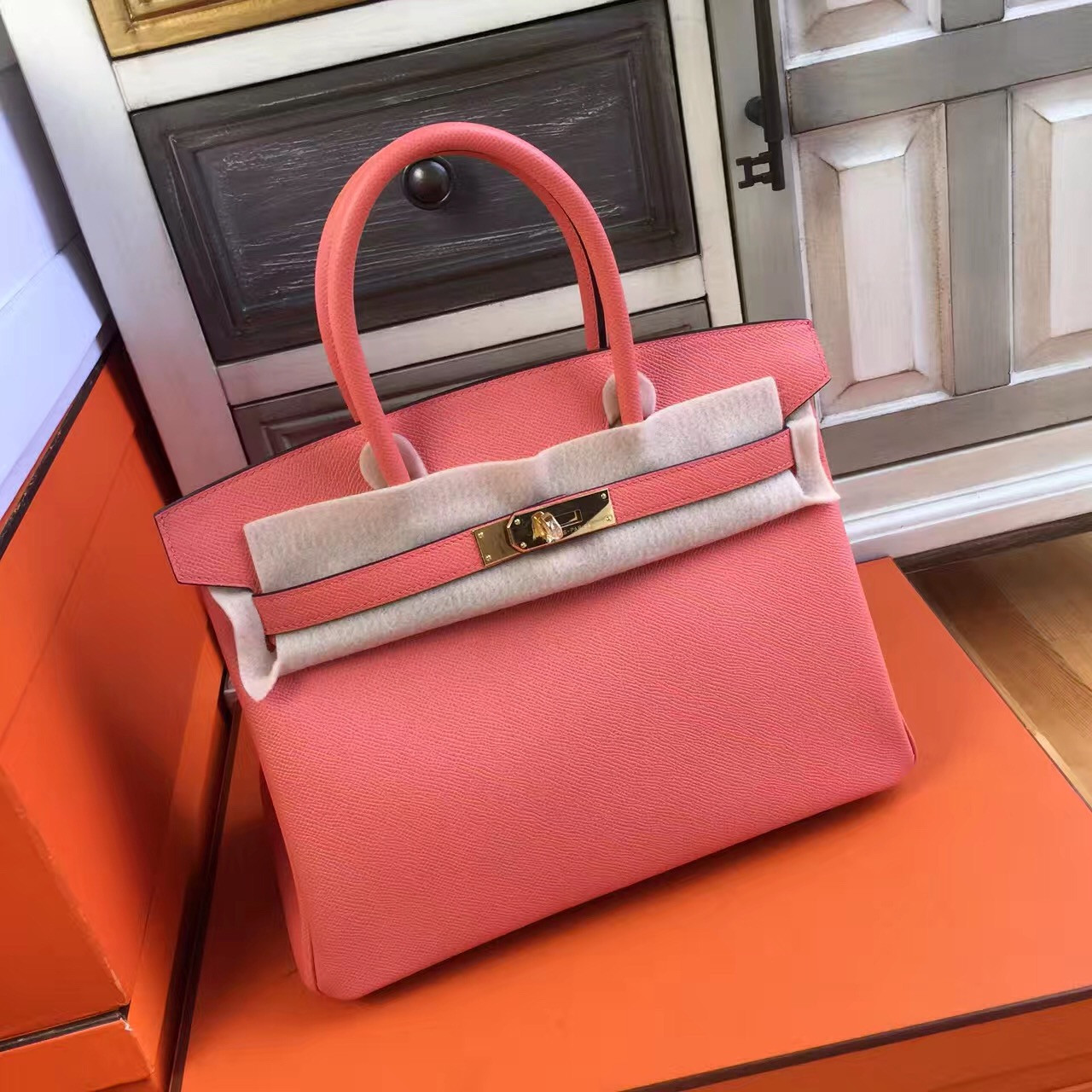 6982cd42f3 Hermès I5 Flamingo Birkin 30 cm Togo Leather Gold Hardware - Bella ...