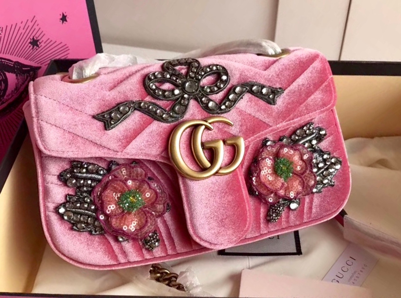 Gucci Limited Edition GG Marmont embroidered velvet mini bag