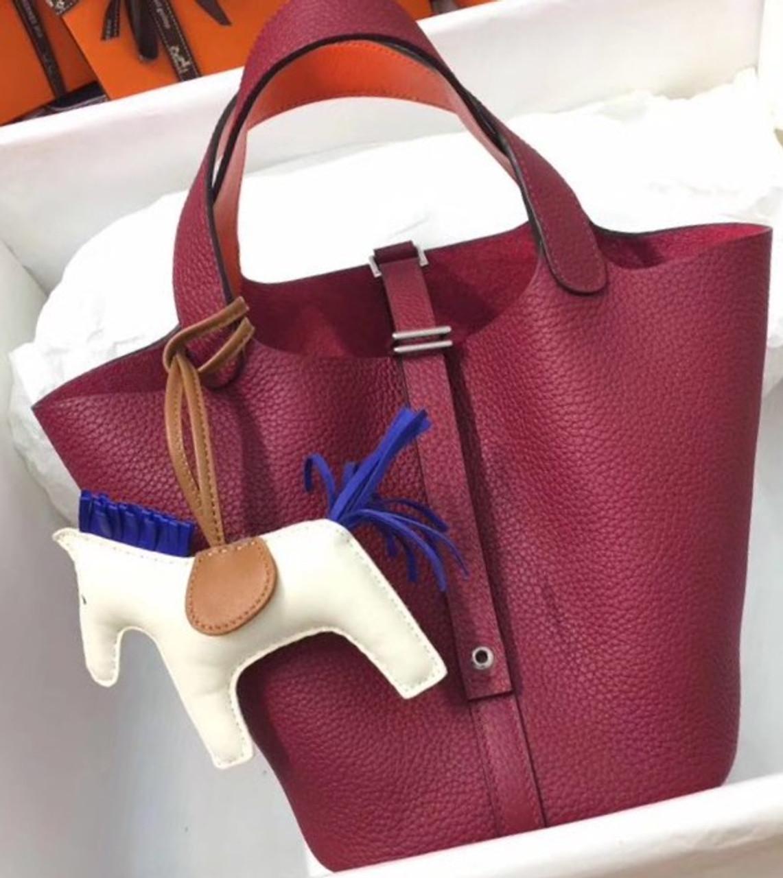 e031ea9649b2 Hermes Rouge   Orange Picotin Lock 18 Togo Leather Bag - Bella Vita Moda