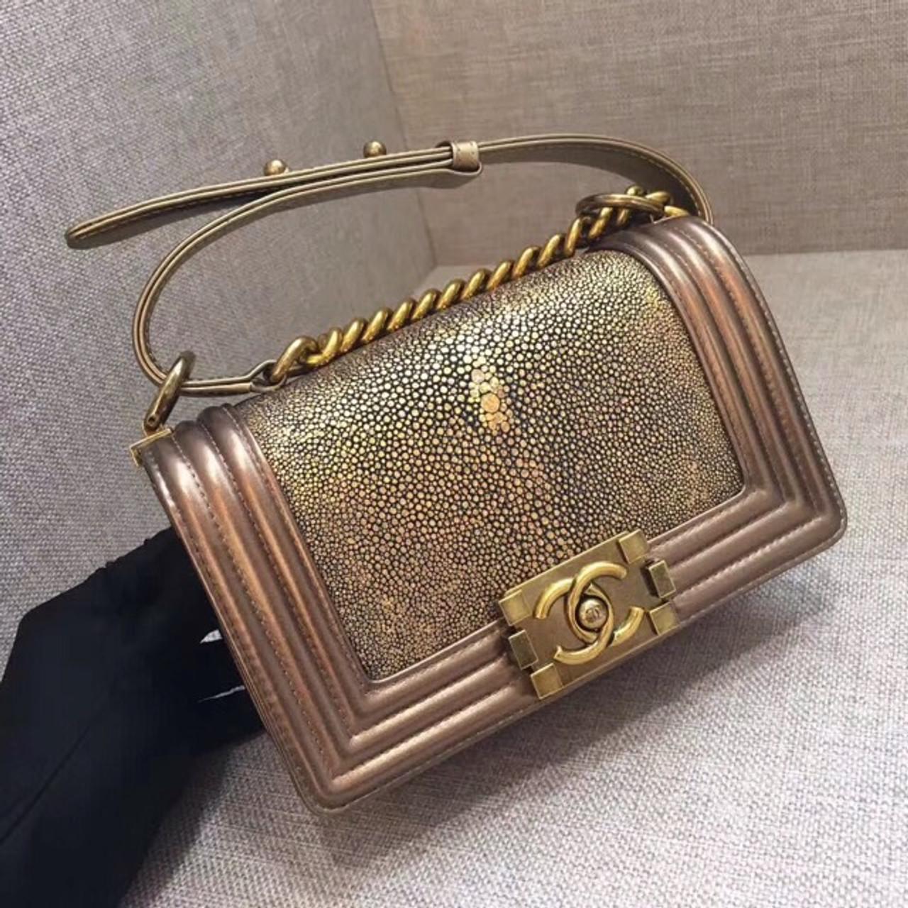 636b2581b152 Chanel Metallic Gold Stingray Small Boy Bag - Bella Vita Moda