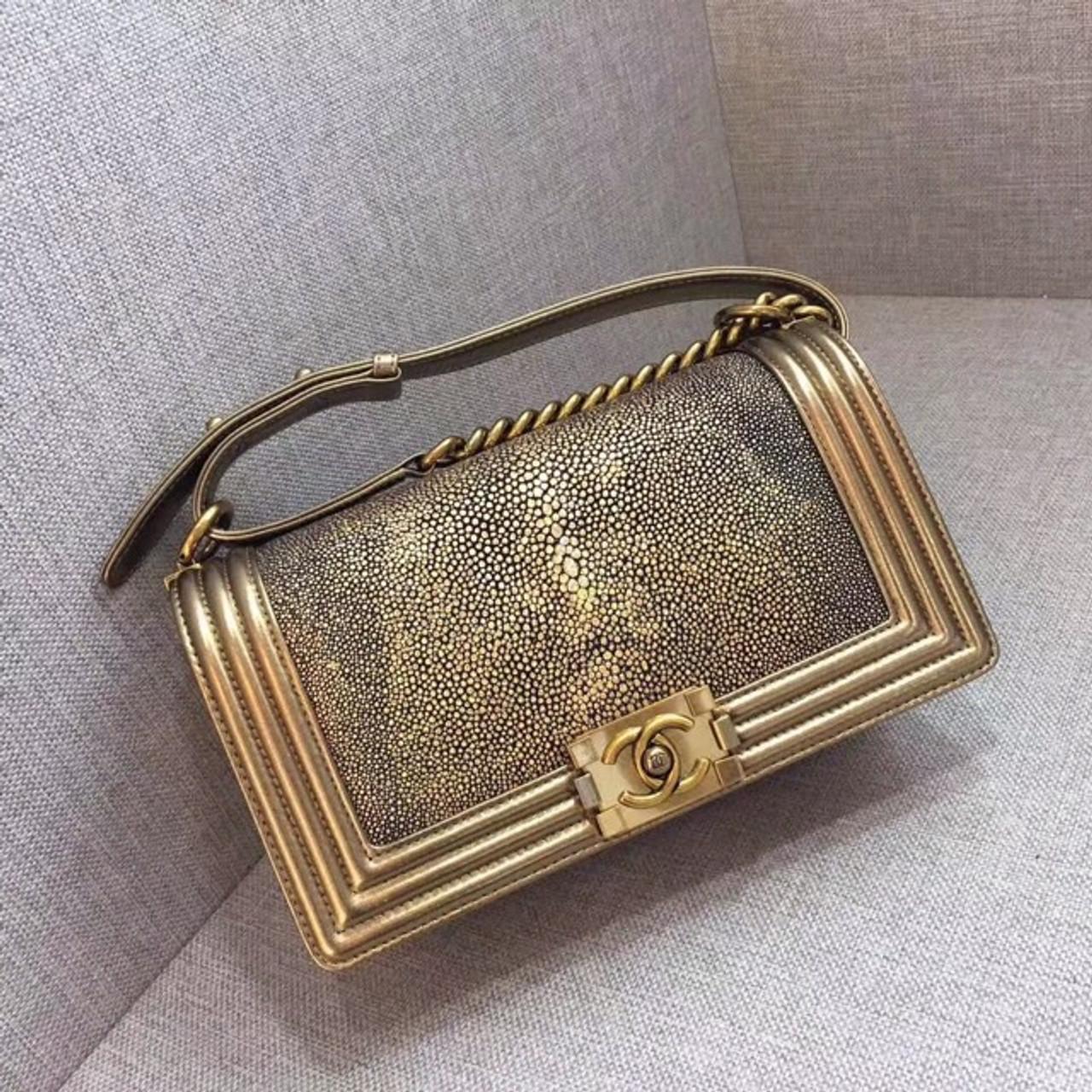 cde3d90603a1f7 Chanel Metallic Gold Stingray Medium Boy Bag - Bella Vita Moda