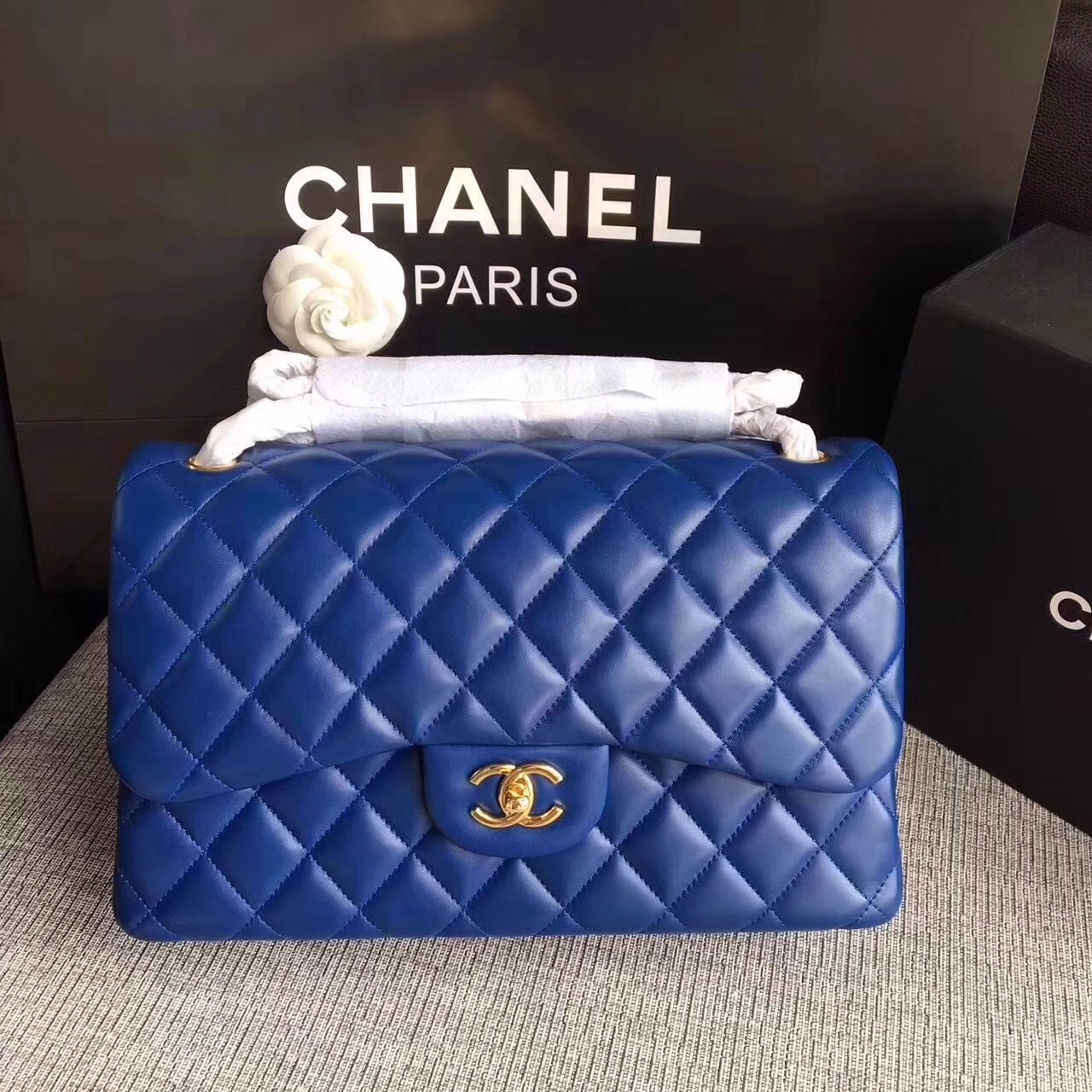 Chanel LARGE CLASSIC HANDBAG Blue Lambskin - Bella Vita Moda d3b898b425e63