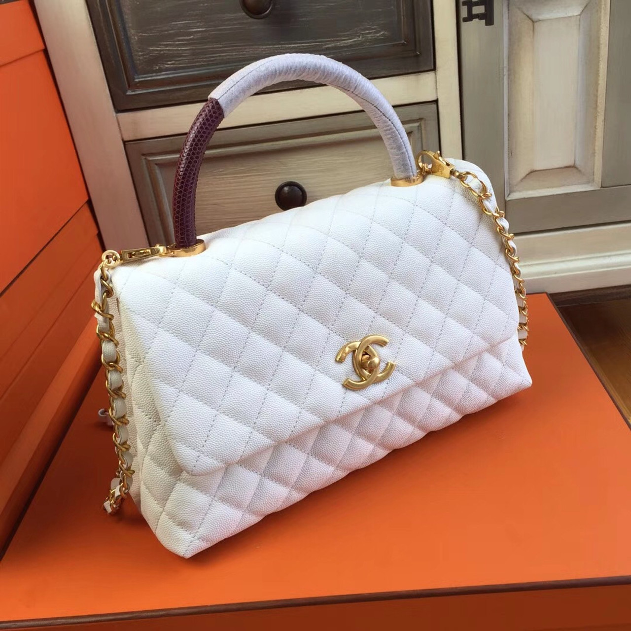 1145feb84de202 Chanel White Calfskin/Lizard Coco Handle Bag - Bella Vita Moda
