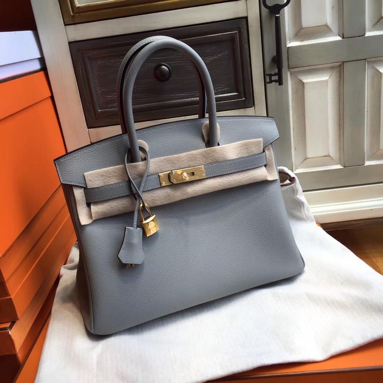9f2c447c77 Hermes Gris Mouette Grey 35cm Togo Birkin Blue Agate Verso Limited ...