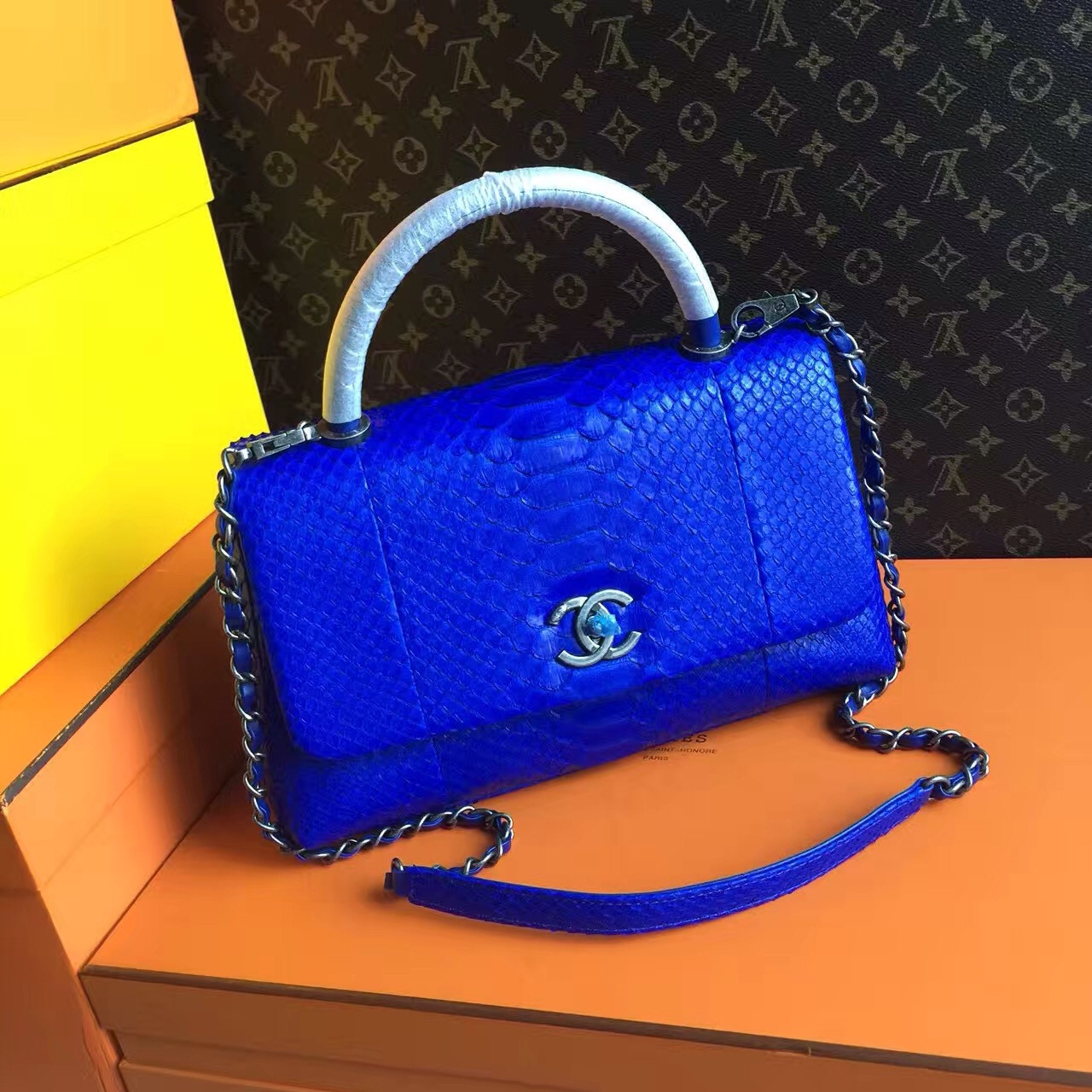 410584f6948f Chanel Electric Blue Python Lizard Top Handle Coco Handle Small Bag ...