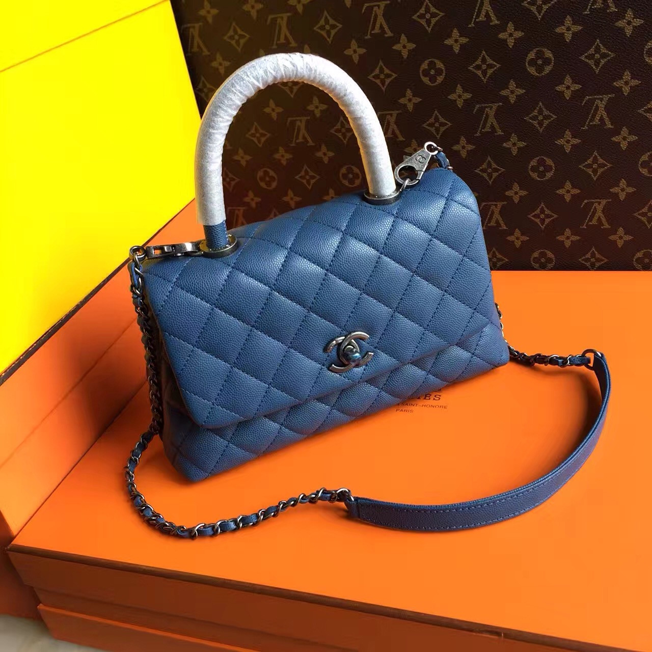 fc9b678d047a90 Chanel Battleship Blue Calfskin/Lizard Coco Handle Small Bag - Bella ...