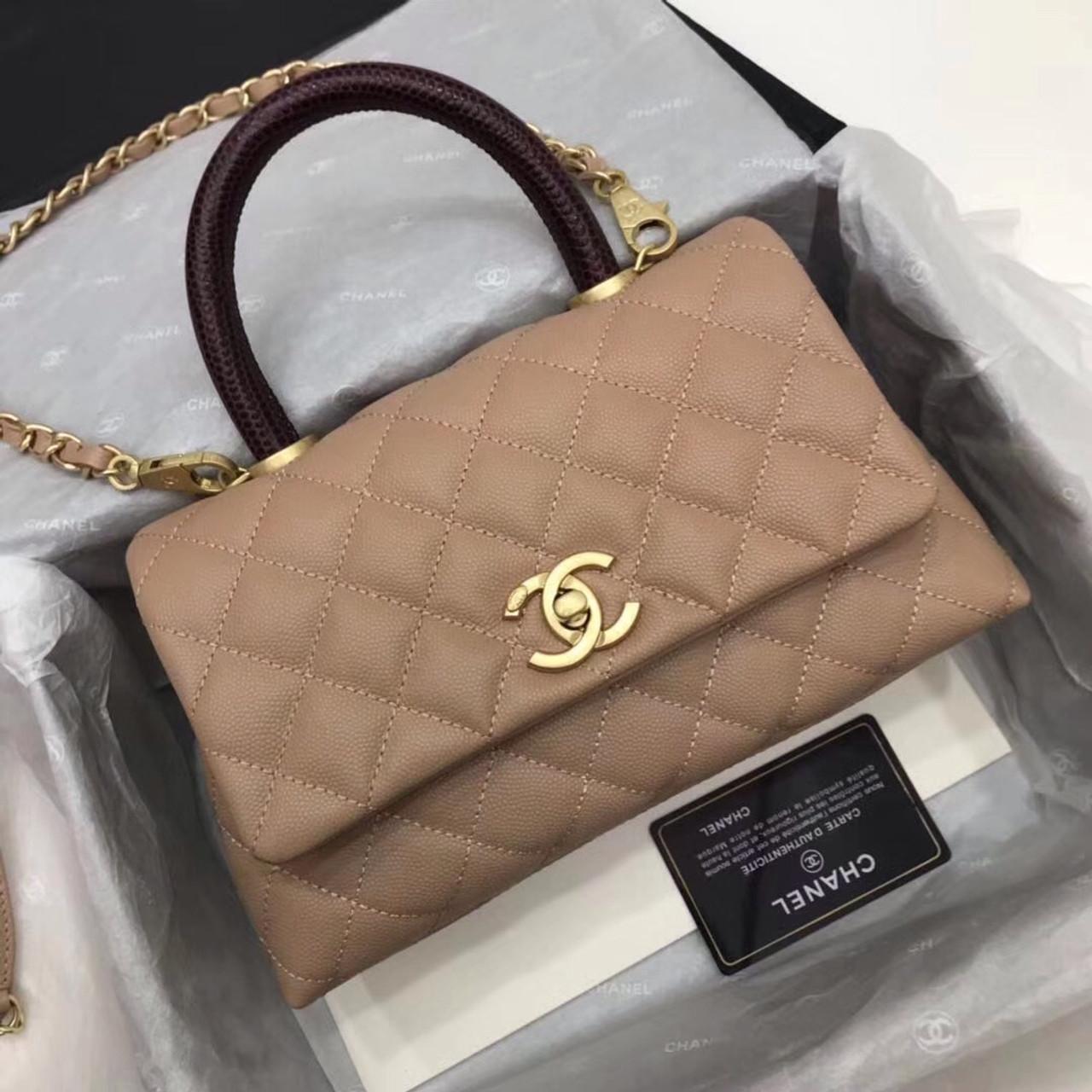824fc195b143 Chanel Caramel Calfskin Lizard Coco Medium Handle Bag - Bella Vita Moda
