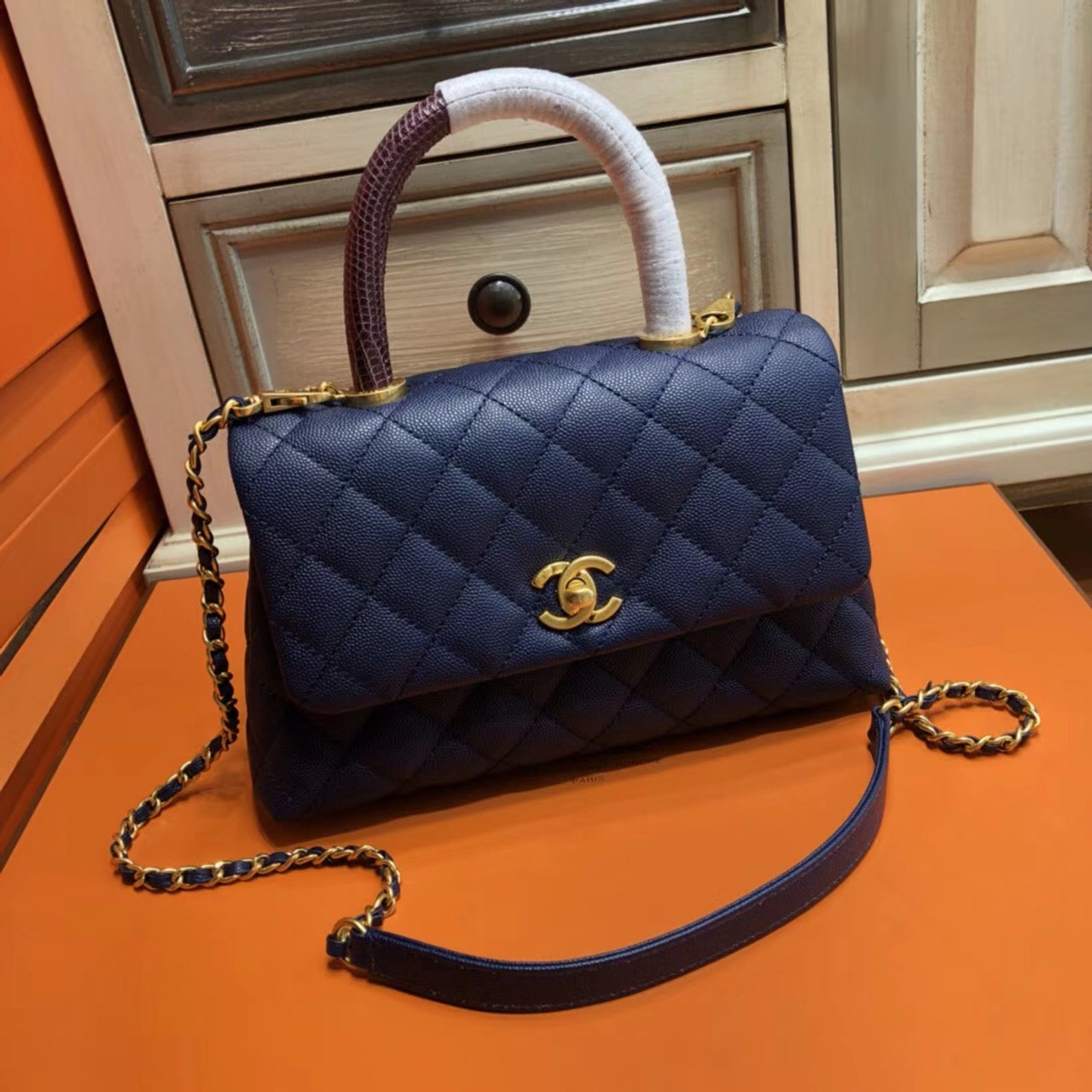 9fb5c97274ca Chanel Blue Calfskin/Lizard Coco Handle Small Bag 2 - Bella Vita Moda