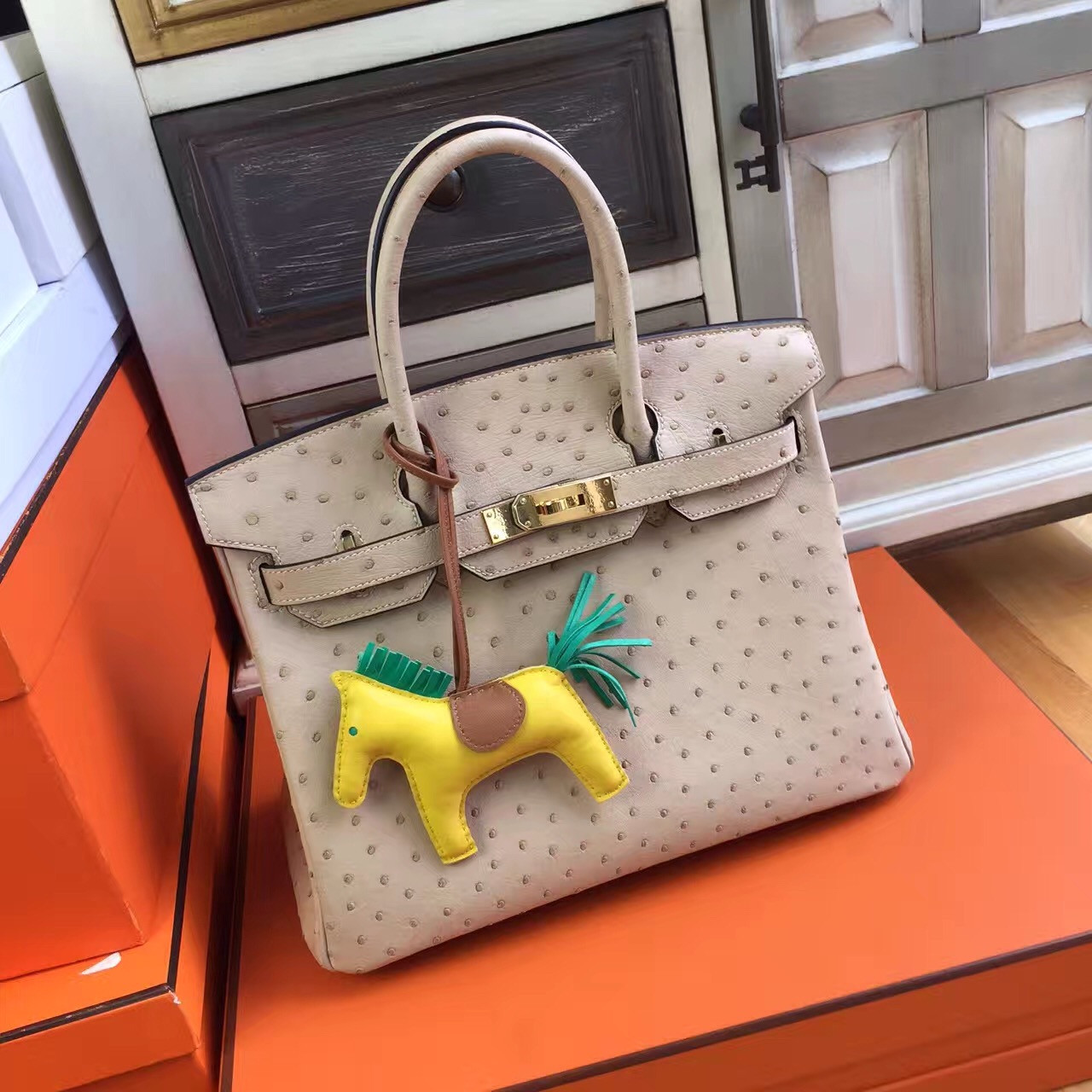7a7e72b5652f Hermes 3C Wool White Birkin Bag 25cm KK Ostrich Leather Palladium ...