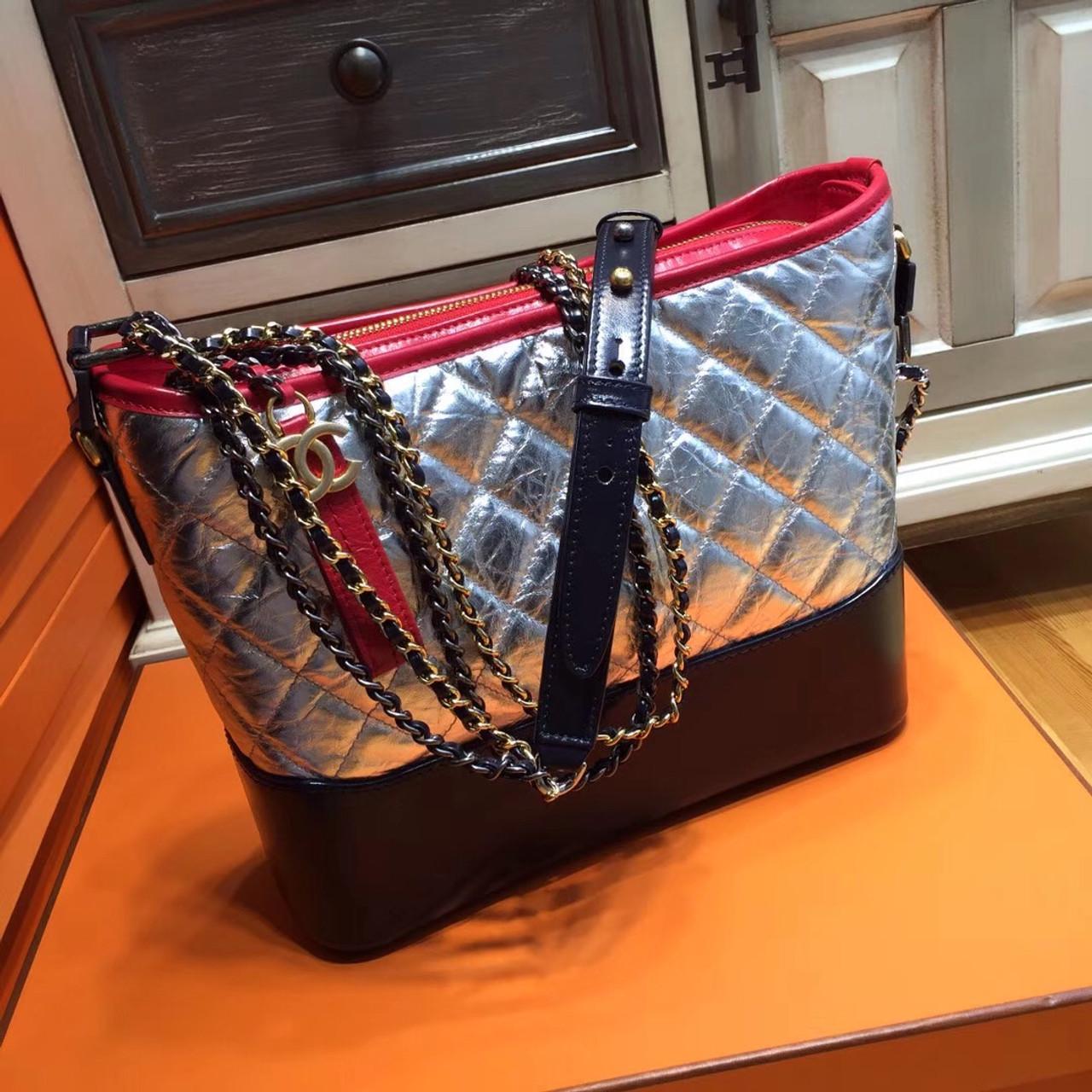 4097dc2c57ac13 Chanel's Gabrielle Hobo Bag Silver/Black/Red A93824 - Bella Vita Moda