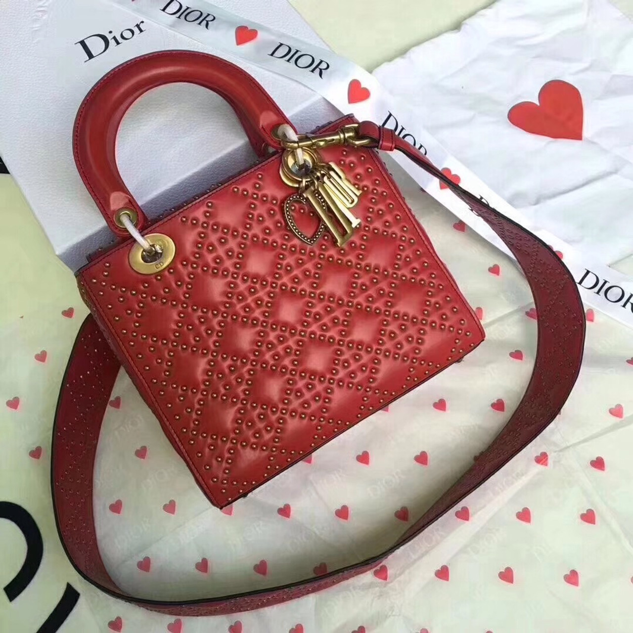 e2c3e824d4 Christian Dior SUPPLE LADY DIOR BAG IN STUDDED RED LAMBSKIN LIMITED EDITION  VALENTINE'S DAY 2018