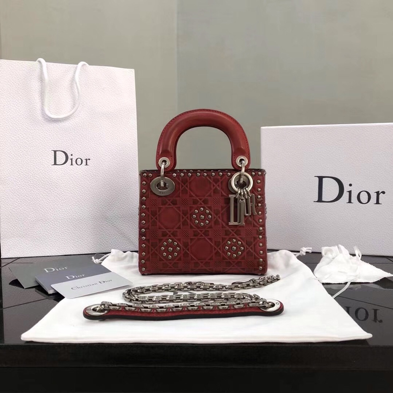 great discount for street price provide large selection of Christian Dior Cruise 2018 MINI LADY DIOR BAG IN RED STUDDED CALFSKIN
