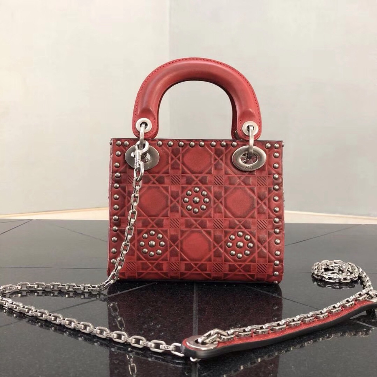 d5df5e5cf2d3 Christian Dior Cruise 2018 MINI LADY DIOR BAG IN RED STUDDED CALFSKIN