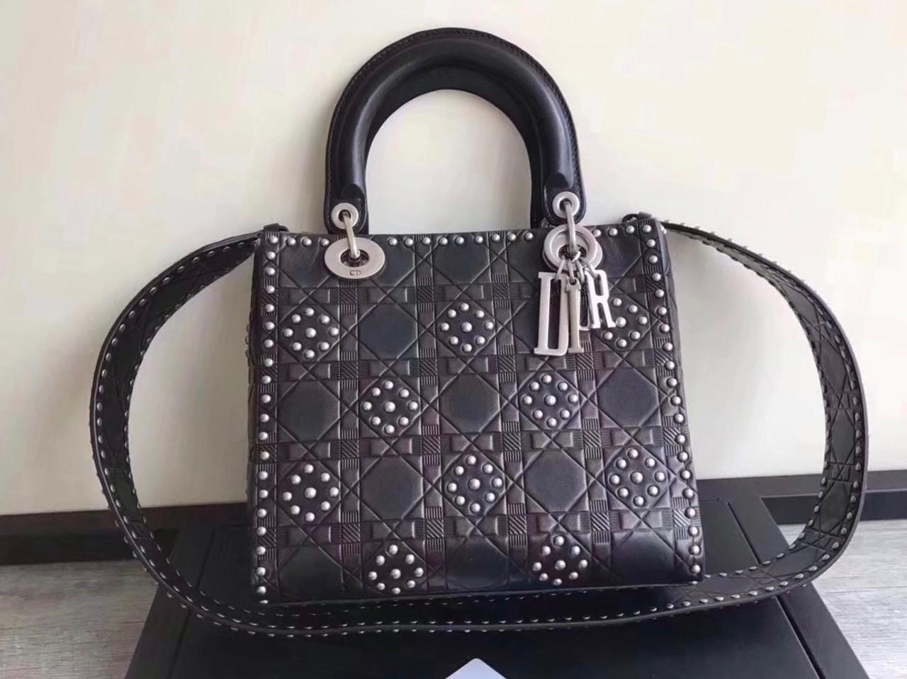 Christian Dior Cruise 2018 LADY DIOR BAG IN BLACK STUDDED CALFSKIN ... 53c2943b1ee56