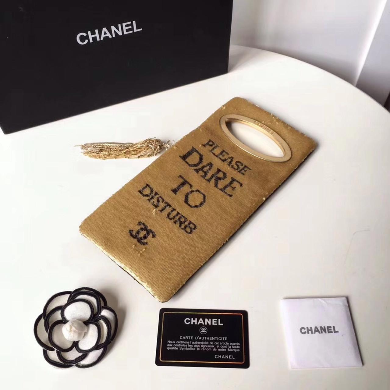 15a655c5bd79 Chanel Please Do Not Disturb Clutch Bag Black  Gold - Bella Vita Moda