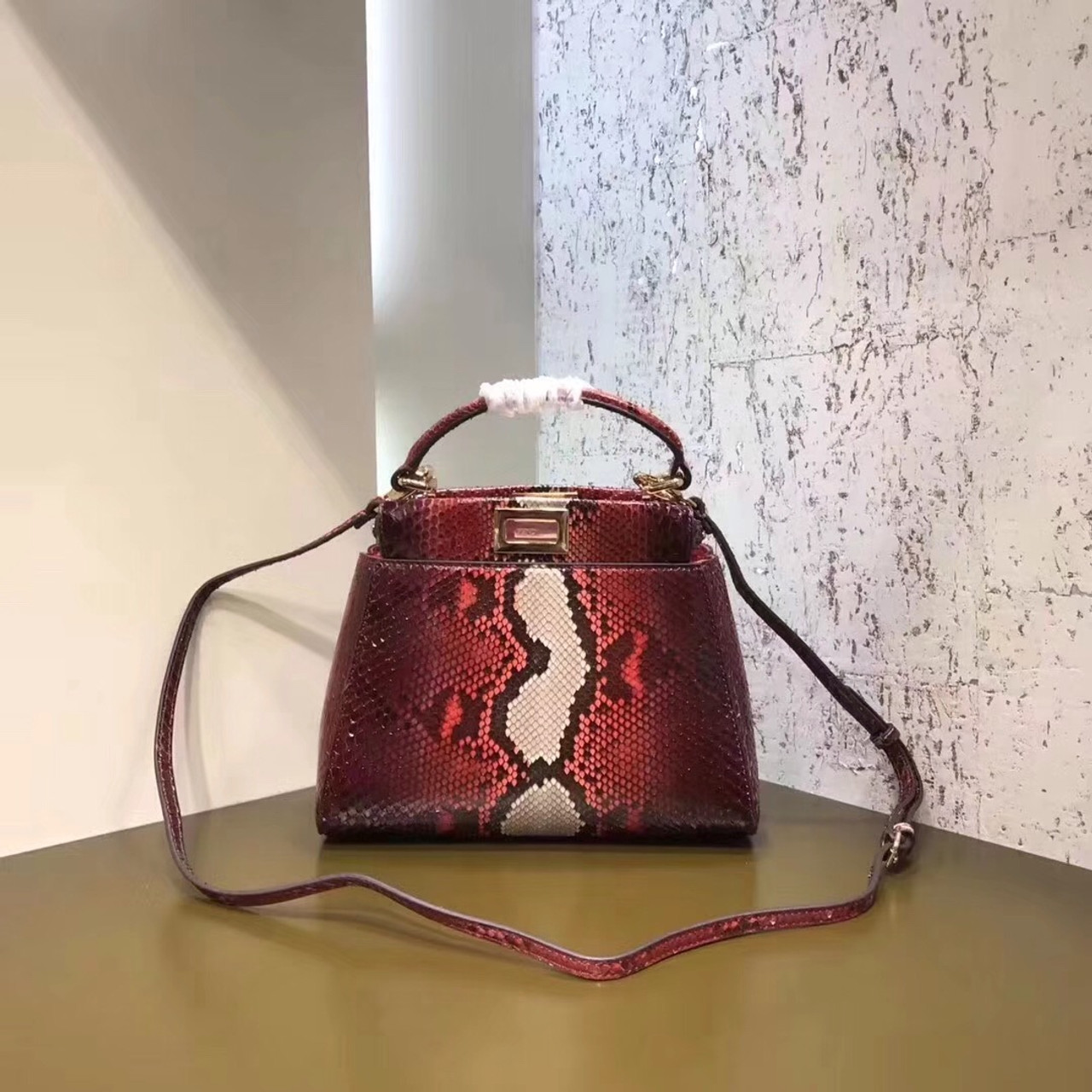 9aaa85f76c82 Fendi MINI PEEKABOO handbag in hand-painted Red python - Bella Vita Moda