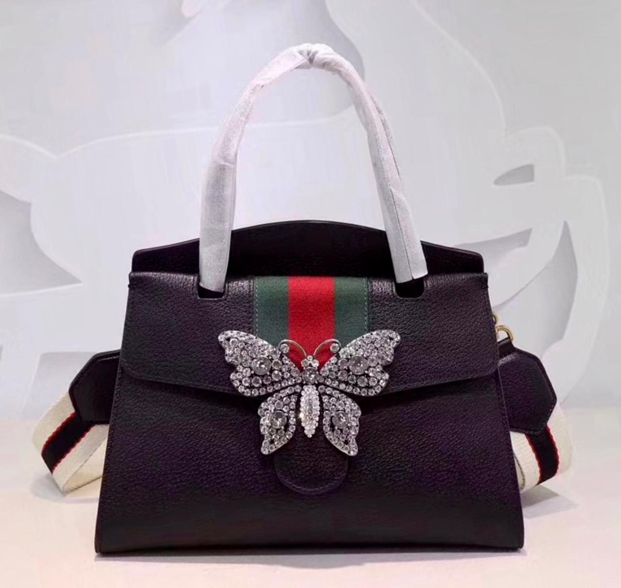 f9392a7f6323 GucciTotem medium top handle bag Black - Bella Vita Moda