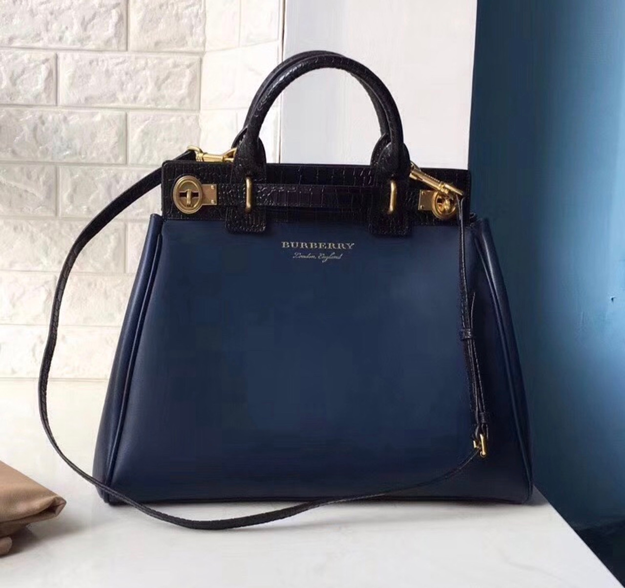2af1adb7775 ... Burberry The DK88 Luggage Bag Blue Bella Vita Moda
