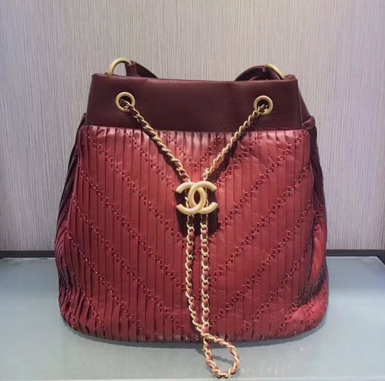 ec74022d17a3 Chanel Burgundy Drawstring bag 2018 - Bella Vita Moda