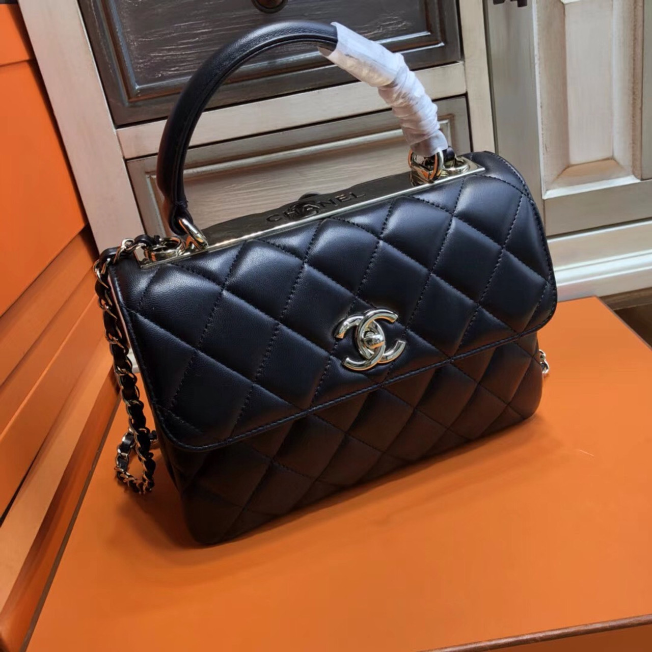 606119bec84121 Chanel Small Trendy CC Top Handle Bag Quilted Lambskin - Bella Vita Moda