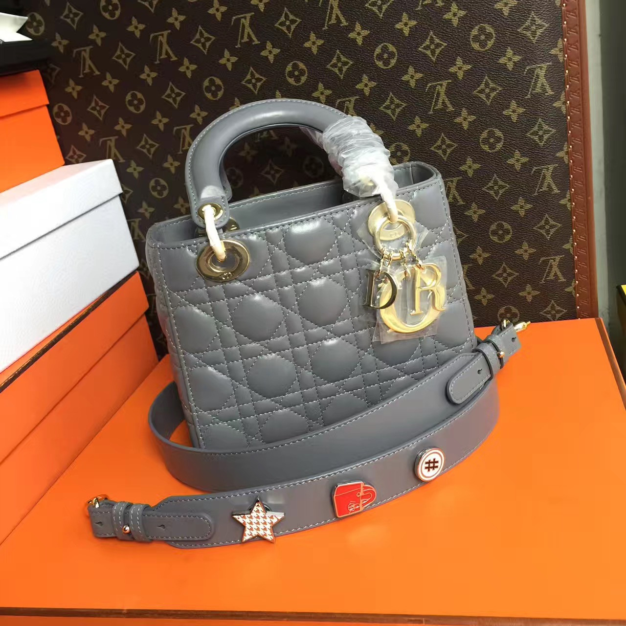 Christian Dior My Lady Dior bag in Dior Grey lambskin
