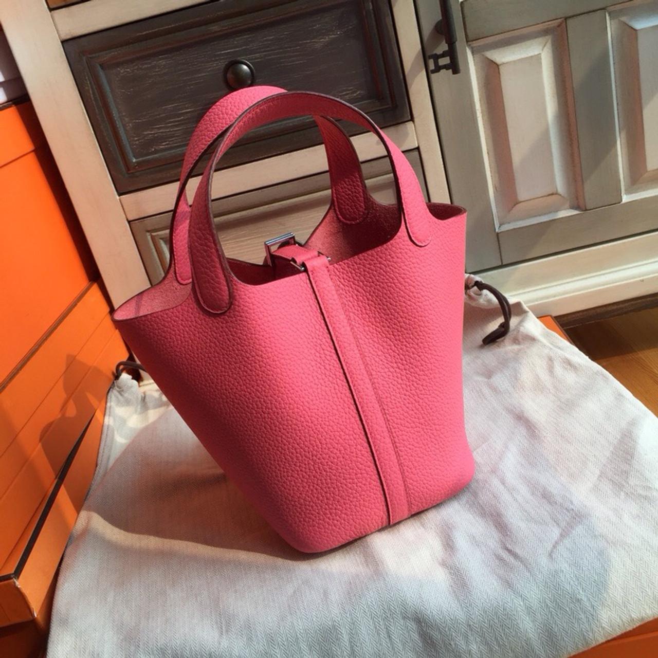 887ad2da8777 Hermes 8W Rose Azalee Picotin Lock 18 Togo Leather Bag - Bella Vita Moda