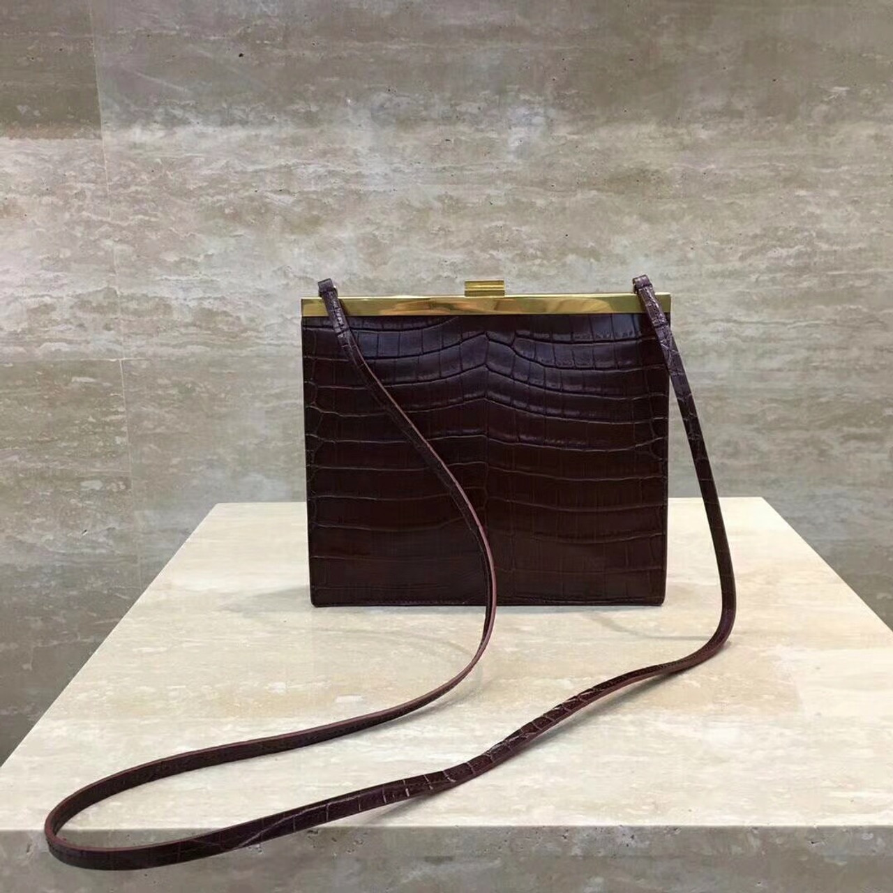 385fc8105b7f Celine MINI CLASP BAG IN CROCODILE BORDEAUX - Bella Vita Moda