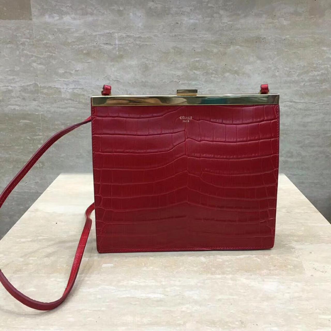 93cc3257b4f5 Celine MINI CLASP BAG IN CROCODILE RED - Bella Vita Moda