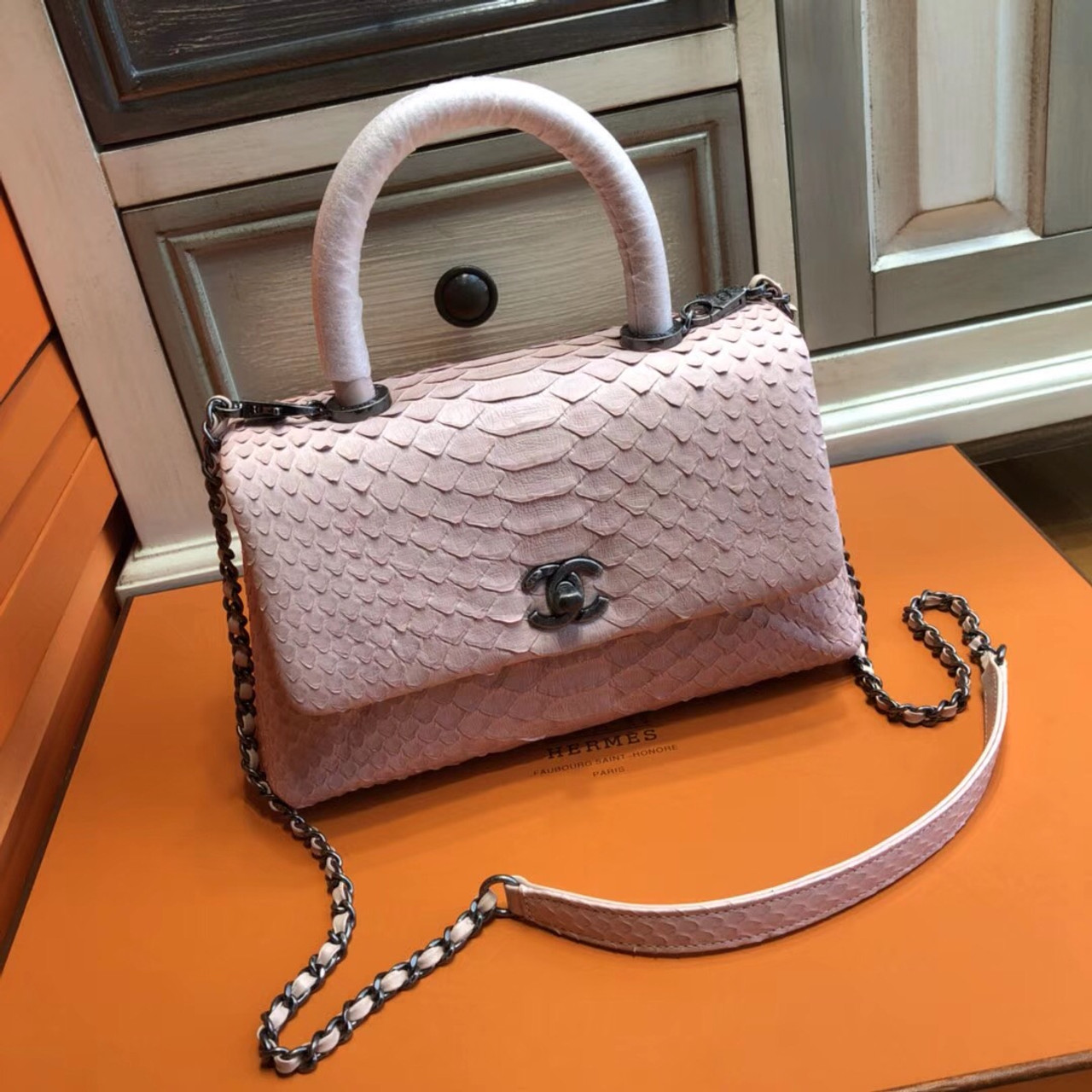 57f435e23a62 Chanel Pink Python Flap Bag with top handle - Bella Vita Moda