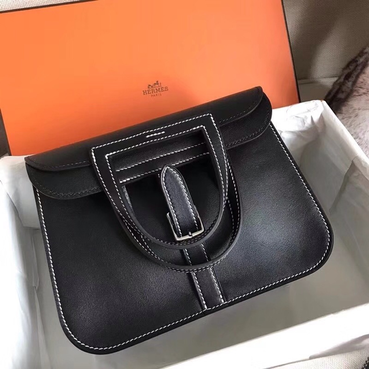 bee1013338cc Hermes Black Halzan 31 bag