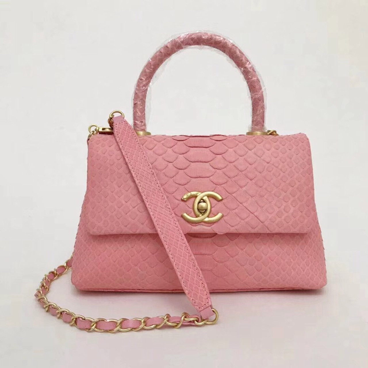 f70e26540a56 Chanel Small Pink Python Flap Bag With Top Handle - Bella Vita Moda