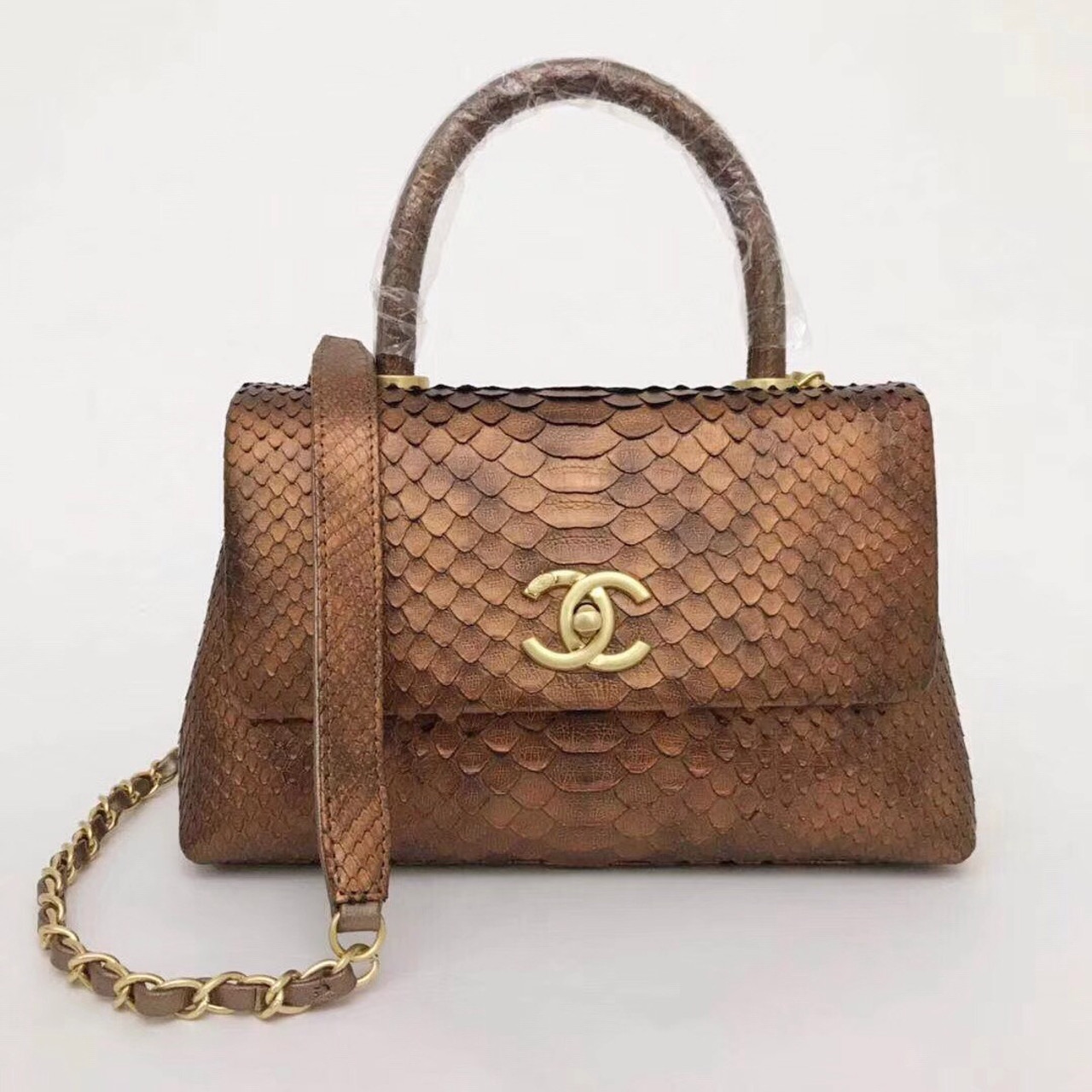 9bbc46a90314 Chanel Small Gold Python Flap Bag With Top Handle - Bella Vita Moda