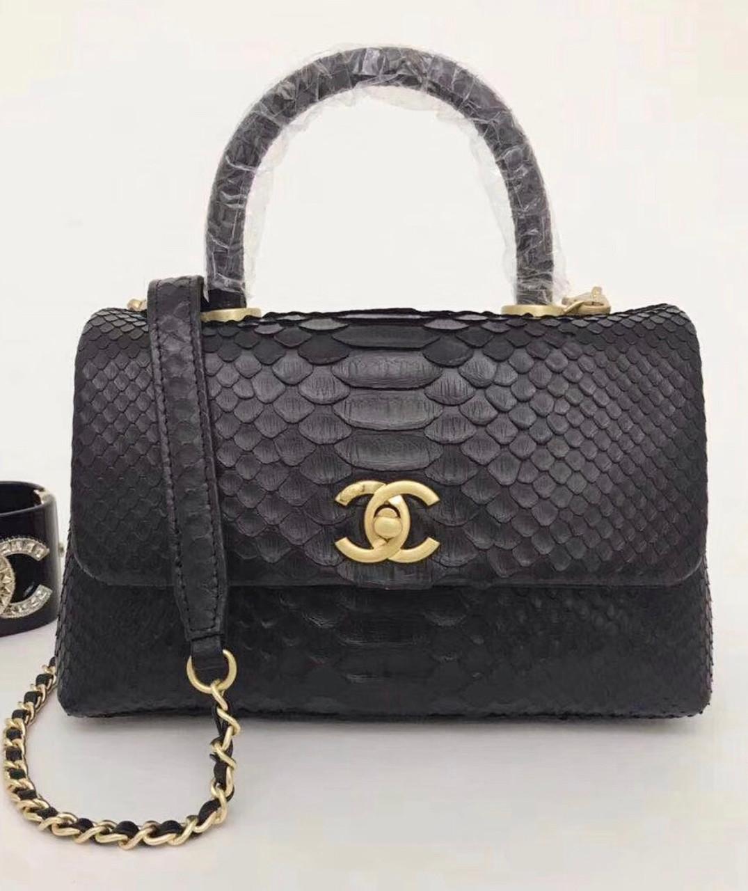 8087304bb11b Chanel Small Black Python Flap Bag With Top Handle - Bella Vita Moda