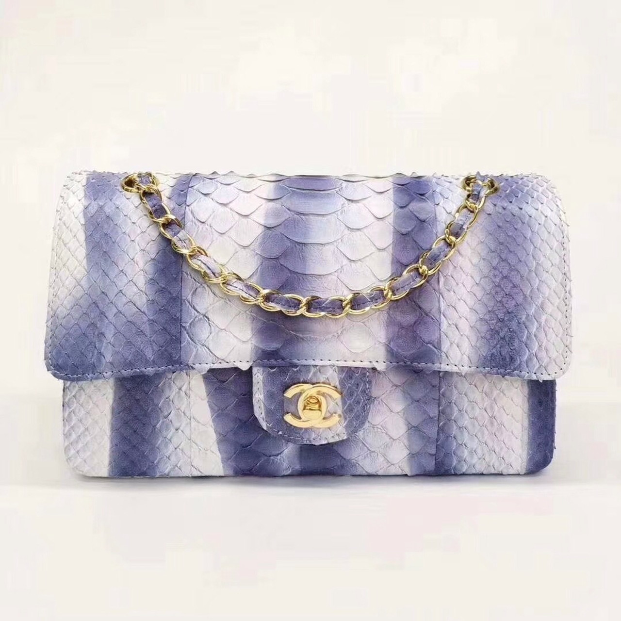 7bec64cb3494 Chanel Python Classic Handbag Navy Blue - Bella Vita Moda
