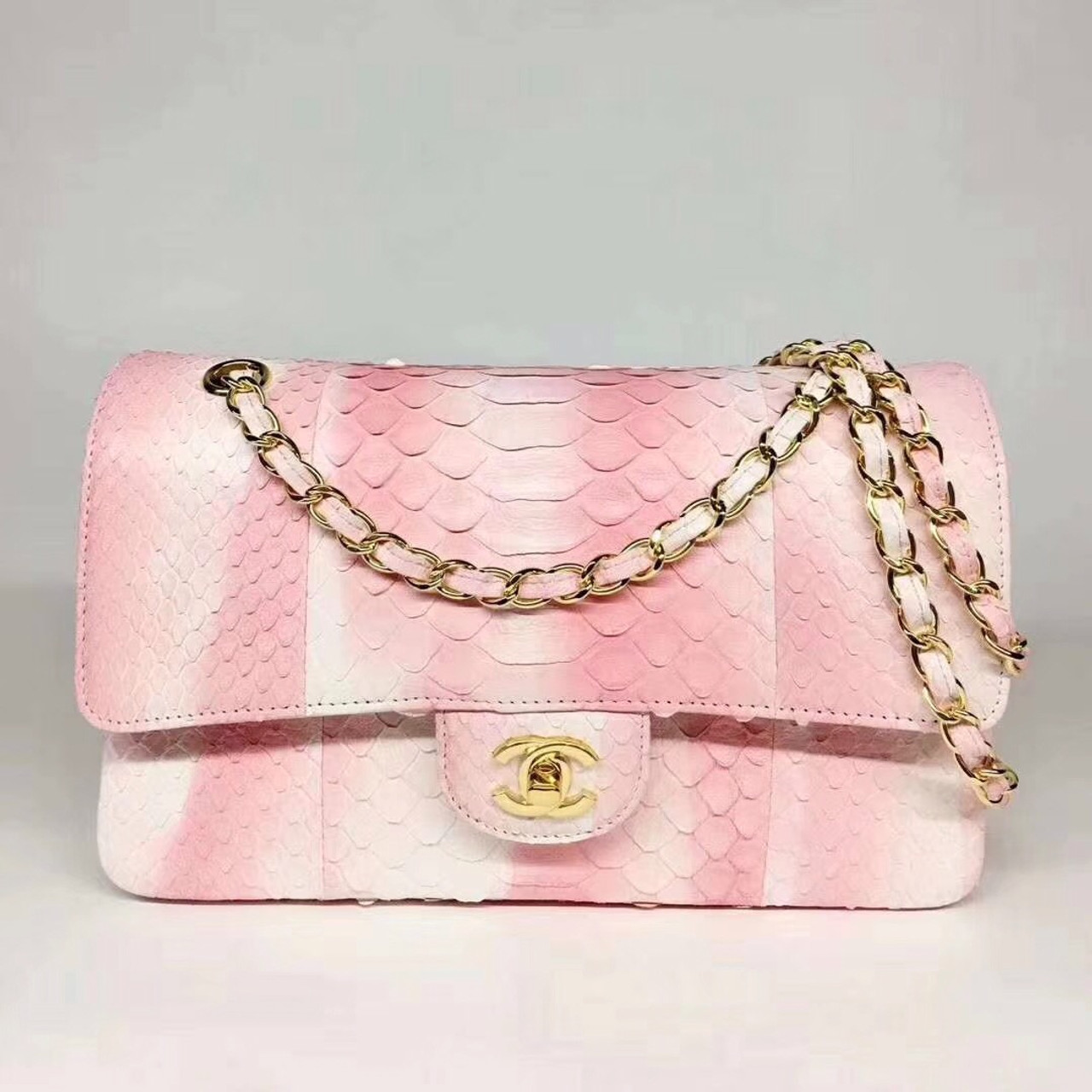 dbecfda953fd Chanel Python Classic Handbag Pink - Bella Vita Moda