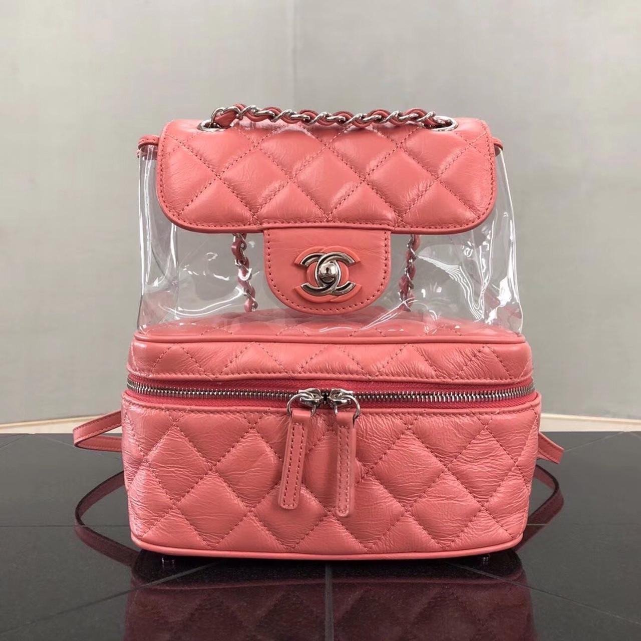 6e164aef9042 Chanel PVC Flap Backpack Pink - Bella Vita Moda