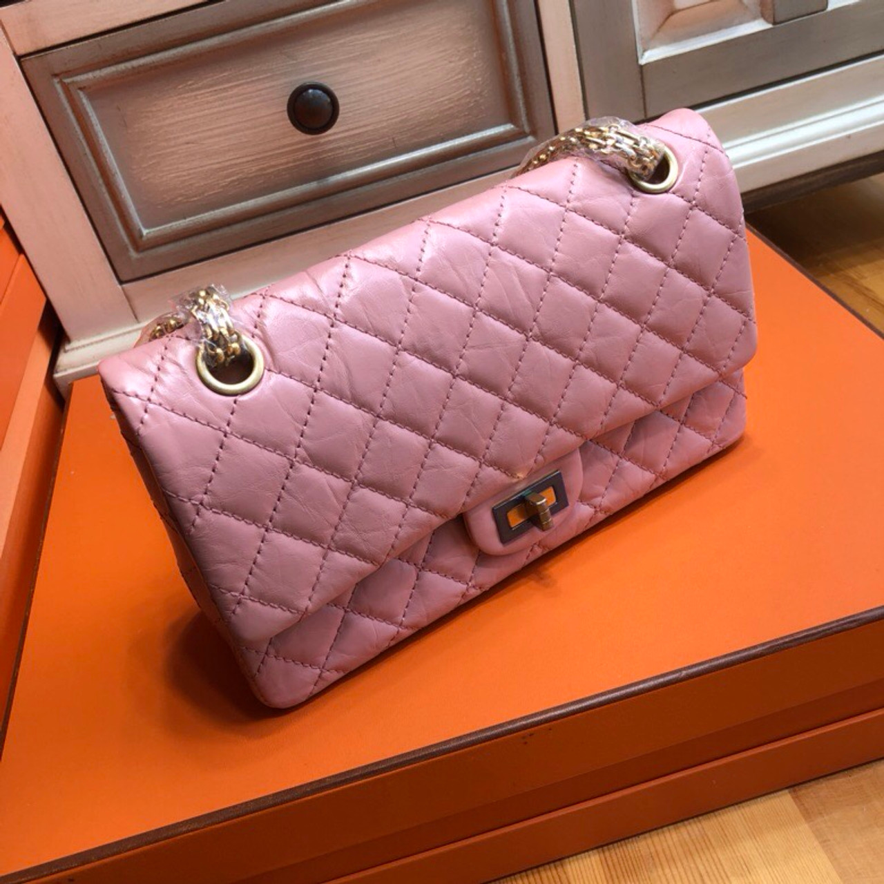 ae72b4c18630 CHANEL Aged Pink Calfskin Quilted 2.55 Reissue 225 Flap - Bella Vita ...