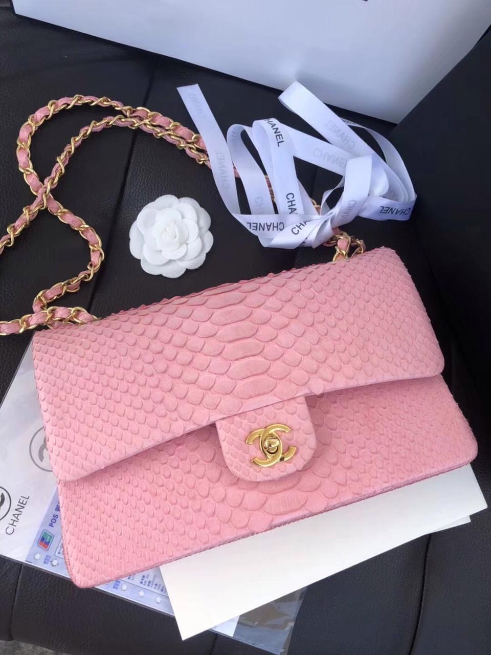 b0430d550a23 Chanel Classic Handbag with Pink Python & Gold Metal - Bella Vita Moda