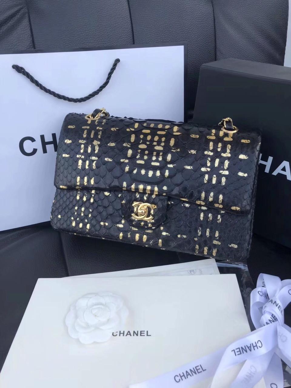 06a4c4b4c1c0 Chanel Classic Handbag with Black Python   Gold Metal - Bella Vita Moda
