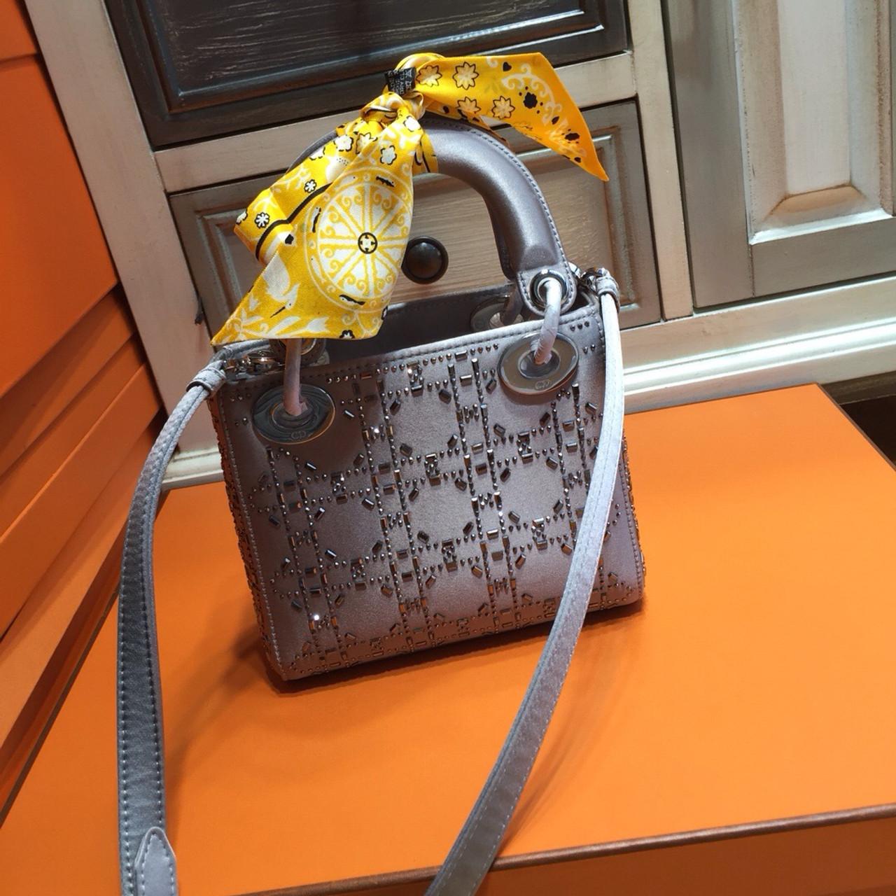 Christian Dior Limited Edition MINI LADY DIOR GREY SATIN BAG WITH SWAROVSKI  CANNAGE 7367495a19