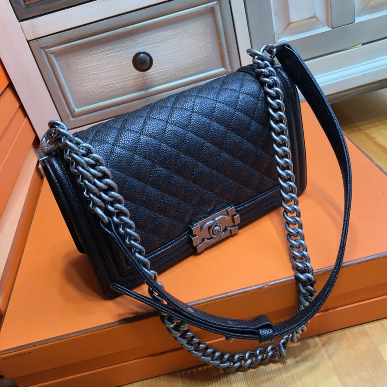 CHANEL Black Caviar Quilted Medium Boy Flap With Aged Silver Hardware b99f90265d499
