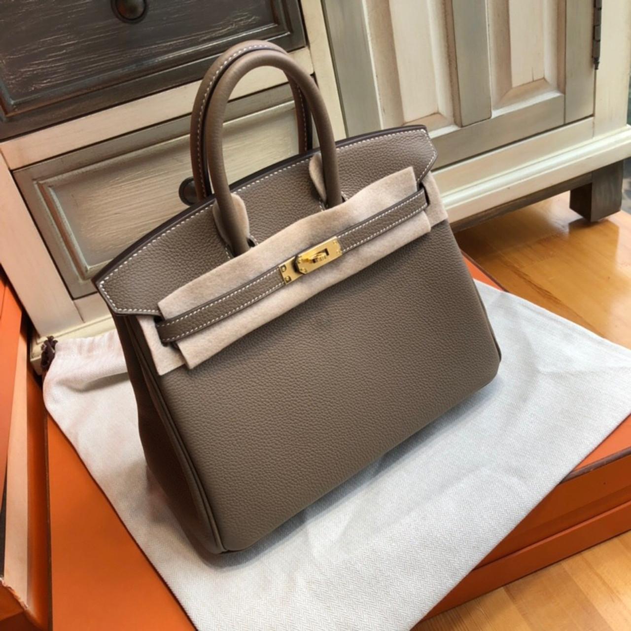 ee650ee1d95c Hermes 18 Etoupe Birkin 25 Togo leather Gold Hardware - Bella Vita Moda