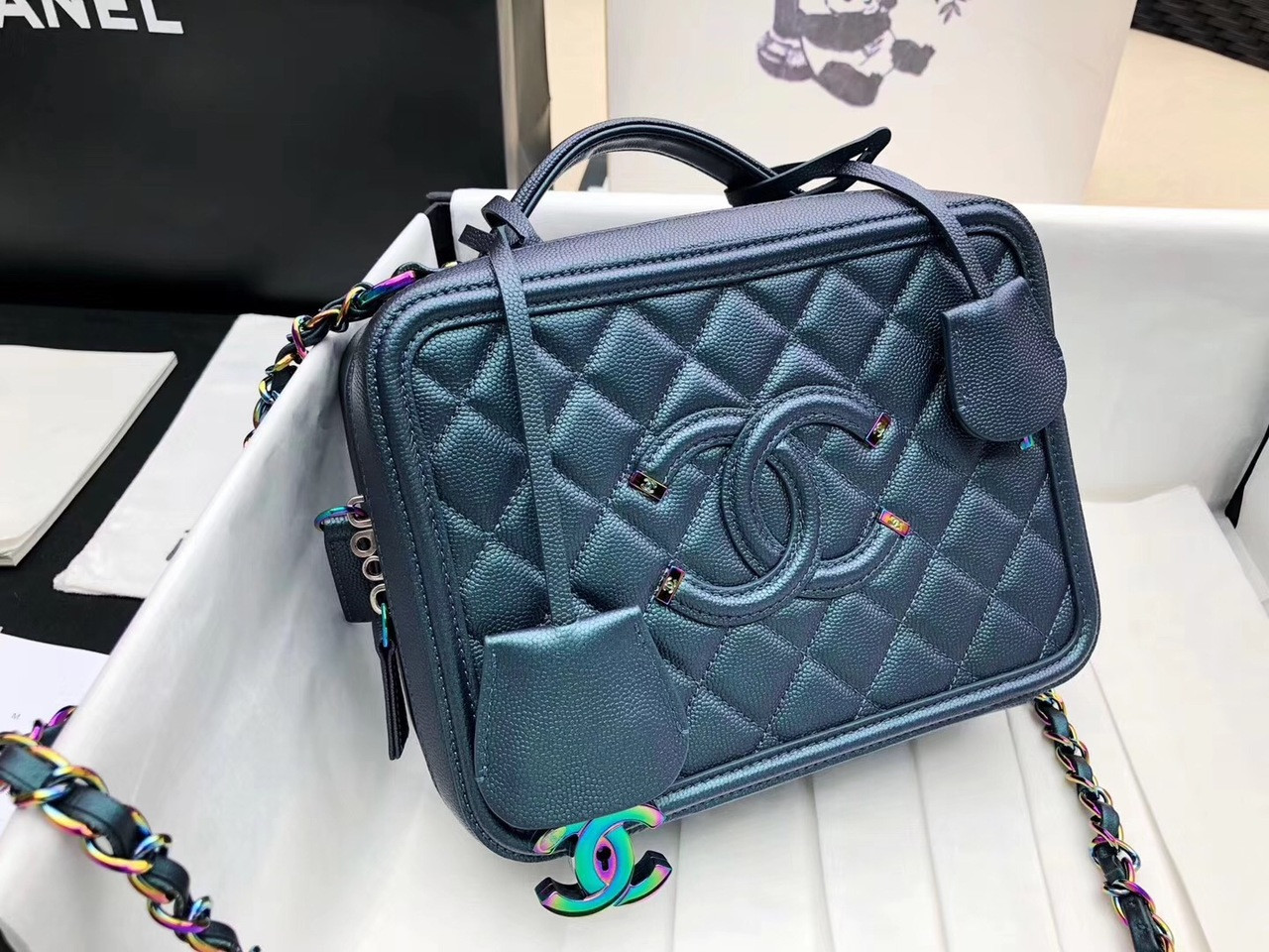 c2bfcd0822c3 CHANEL Large Vanity Case Iridescent Metal 2018 - Bella Vita Moda