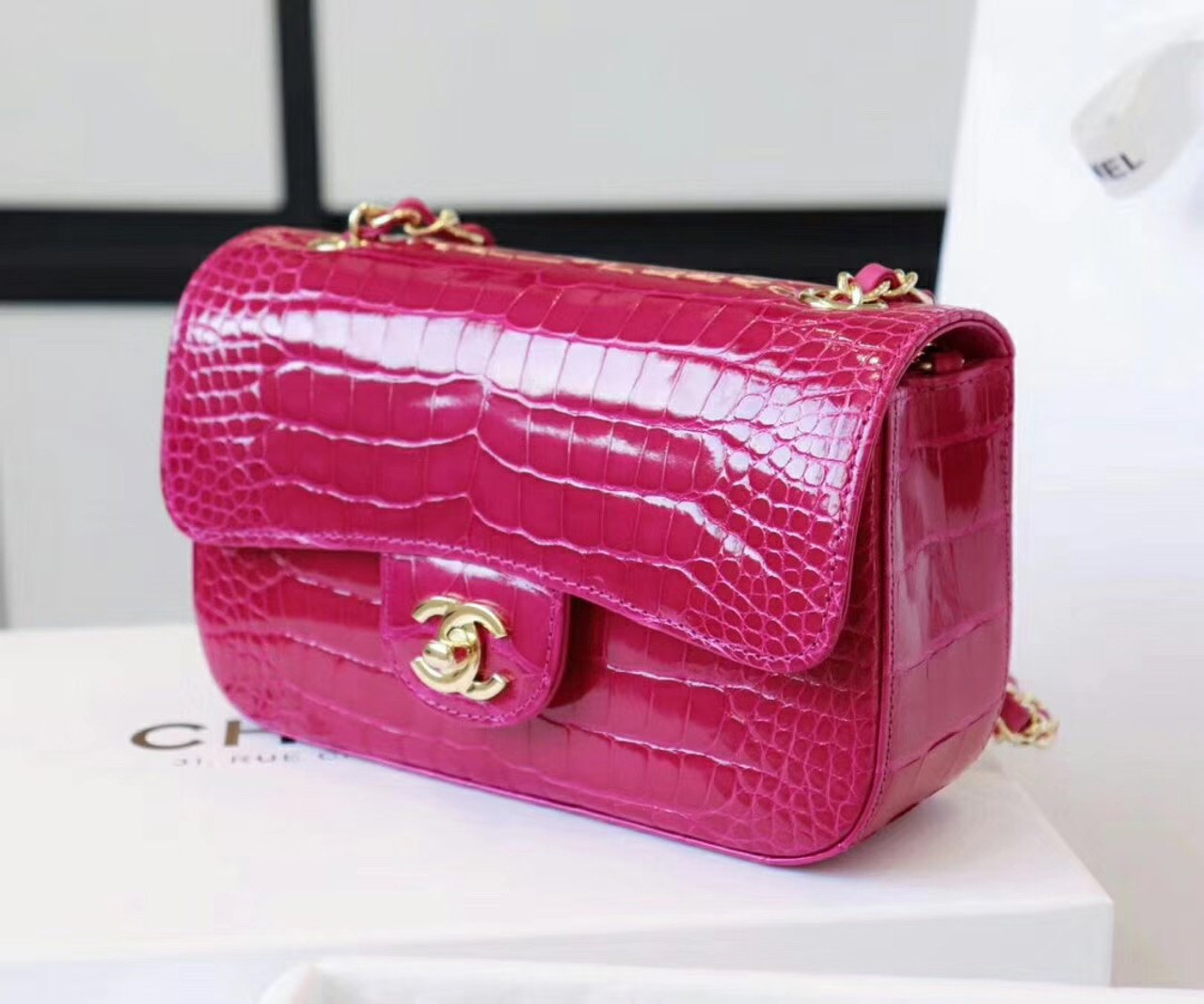 9994a927863c Chanel Fuchsia Shinny Alligator Mini Flap Bag - Bella Vita Moda