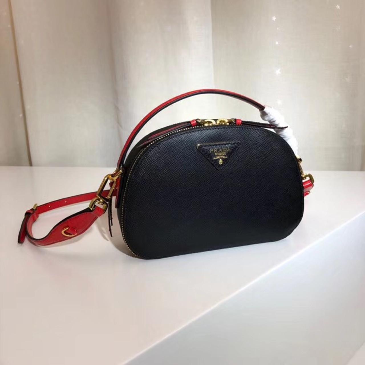 61e10c3c95c0 Prada Odette Saffiano leather bag Black/Red - Bella Vita Moda