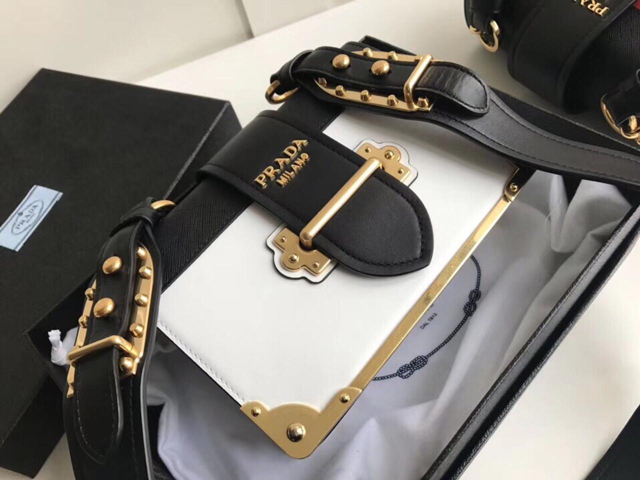 cbf1e3f5ca4c Prada 2019 Cahier leather shoulder bag White - Bella Vita Moda